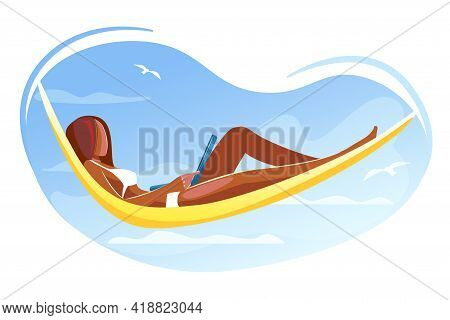 African Woman Working On Laptop Lying In Hammock On Beach. Freelancer, Remote Work, Summer Time Leis
