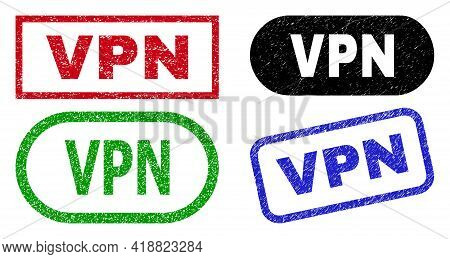 Vpn Grunge Stamps. Flat Vector Grunge Watermarks With Vpn Slogan Inside Different Rectangle And Roun