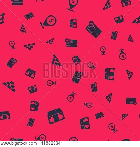 Set Stacks Paper Money Cash, Cash Location, Gold Bars And Credit Card On Seamless Pattern. Vector