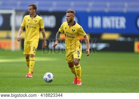 Milano, Italy. 25th April 2021 . Federico Dimarco Of Hellas Verona Fc  During The Serie A Match Betw