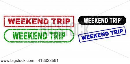 Weekend Trip Grunge Seals. Flat Vector Grunge Watermarks With Weekend Trip Phrase Inside Different R