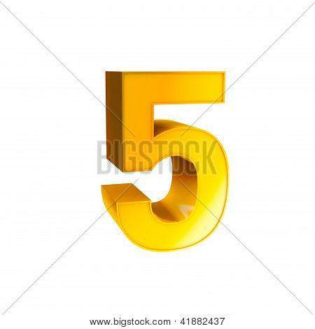 Gold Alphabet Number Character Five 5
