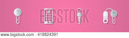 Set Paper Cut Undefined Key, Mobile And Graphic Password, Unlocked And House With Icon. Paper Art St