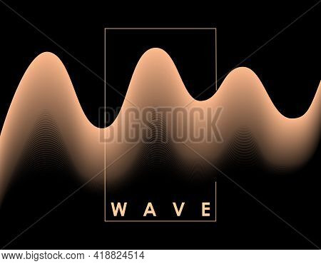 Abstract Pink Color Wave On Black Background With Transition. Vector Illustration For Poster, Cover,