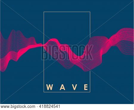 Abstract Pink Color Wave On Dark Blue Background With Transition. Vector Illustration For Poster, Co
