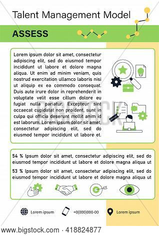 Talent Management Model Brochure.assess.talent Analytics.project Management Template.flyer, Magazine