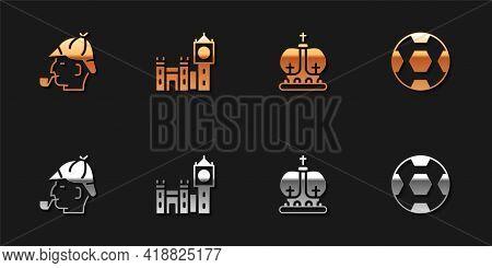 Set Sherlock Holmes, Big Ben Tower, British Crown And Football Ball Icon. Vector