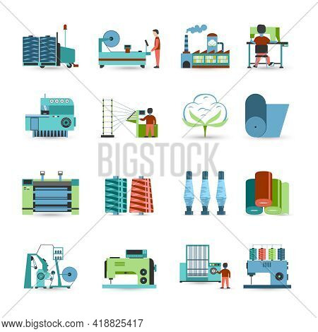 Textile Manufacturing Process Flat Icons Collection With Weaving Yarn  Machinery Equipment And Cloth