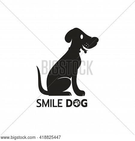 Beautiful Logo Icon Dog, Stylized Image Of Smile Dog Logo Template, Dog Silhouette Tattoo, Pet Care
