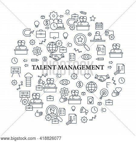 Talent Management Circle Poster.attracting Employees. Recruitment. Talent Development.business Pract