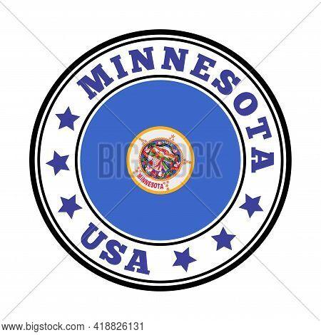 Minnesota Sign. Round Us State Logo With Flag Of Minnesota. Vector Illustration.