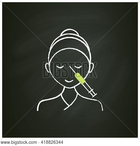 Cosmetic Injection Chalk Icon.woman Doing Injection Between Eyebrows. Rejuvenation. Full Syringe. Be
