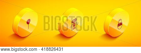 Set Isometric Balloons With Ribbon, Robot Toy And Tumbler Doll Icon. Vector
