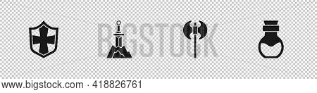 Set Shield, Sword In The Stone, Medieval Axe And Poison Bottle Icon. Vector
