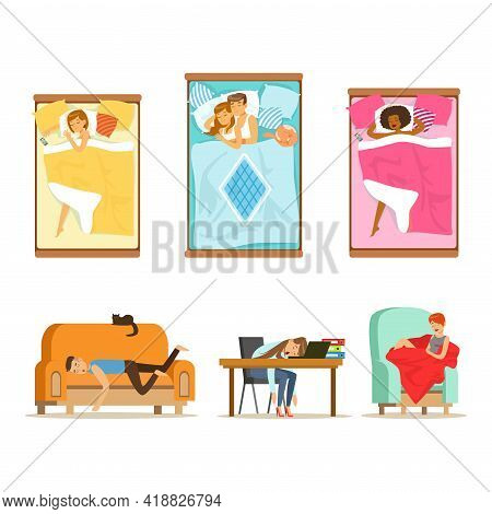 People Characters Sleeping In Different Position In Various Places Vector Set.