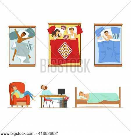 People Characters Sleeping In Different Position In Various Places Vector Set