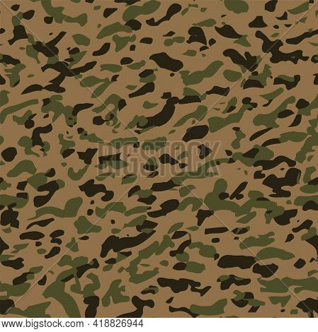 Seamless Camouflage Military Pattern. Khaki Abstract Background. Texture For Army Vector Illustratio