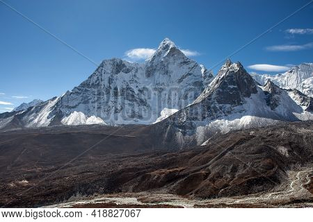 Beautiful View Of Ama Dablam Mountain Range On The Famous Everest Base Camp Trek In Himalayas, Nepal