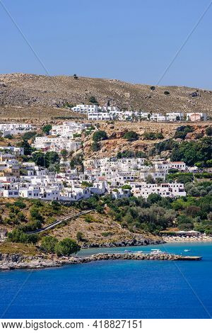 Sightseeing Of Greece. Lindos Village Is A Traditional Village With Colorful White Buildings, Rhodes