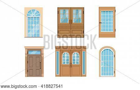 Different Door As Building Entrance Exterior Vector Set