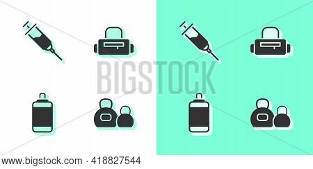 Set Kettlebell, Doping Syringe, Punching Bag And Sport Icon. Vector