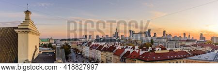 Warsaw, Poland - October 15, 2019: Cityscape Of Warsaw At Night. Wide Panoramic View Of St. Anne's C