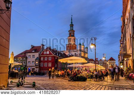 Poznan, Poland - October 11, 2019: Sightseeing Of Poland. Cityscape Of Poznan. City Hall And Main Sq