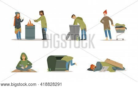 Homeless People Characters Living On The Streets Looking Hungry And Dirty Vector Set