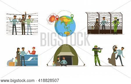 Stateless Refugees Or Displaced People Crossing National Boundary Escaping War And Poverty Vector Il