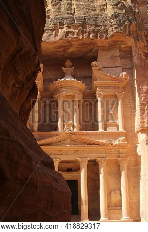 The Facade Of The Treasury In The Ancient City Of Petra. High Quality Photo