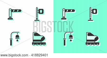 Set High-speed Train, Railway Barrier, Train Station Bell And Cafe And Restaurant Location Icon. Vec