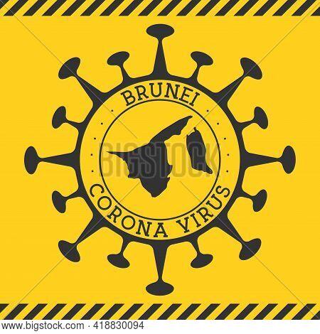 Corona Virus In Brunei Sign. Round Badge With Shape Of Virus And Brunei Map. Yellow Country Epidemy