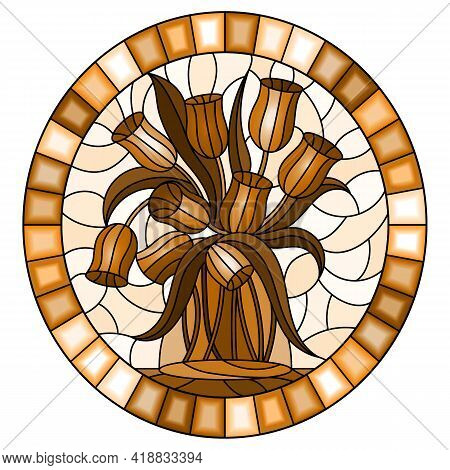 Illustration In Stained Glass Style With Still Life, Bouquet Of Tulips In A Glass Jar On A Light Bac