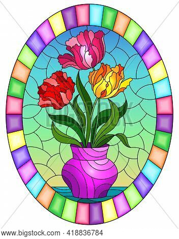 Illustration In A Stained Glass Style With A Floral Still Life, A Vase With Bright  Tulips On A Sky