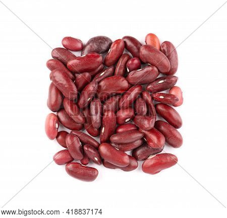 Red Kidney Beans, Isolated On White Background. Rajma Or Mexican Bean. Beans Close Up. Top View.