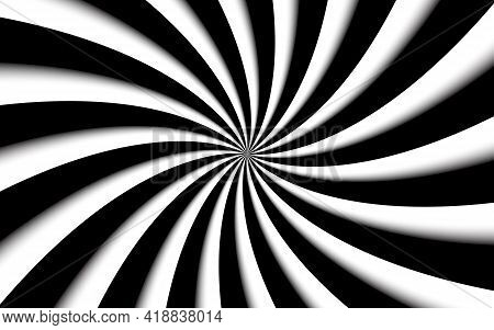Black And White Spiral Background. Swirling Radial Pattern. Abstract Vector Illustration