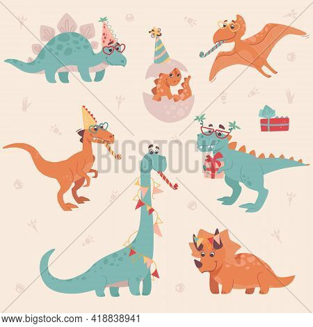 Dinosaur Birthday Party. Stegosaurus, Triceratops, Brachiosaurus, Brontosaurus, Velociraptor, Pteran