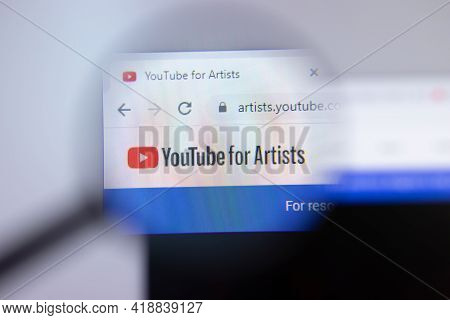 New York, Usa - 26 April 2021: Youtube For Artists Website Page On Screen, Man Using Service, Illust