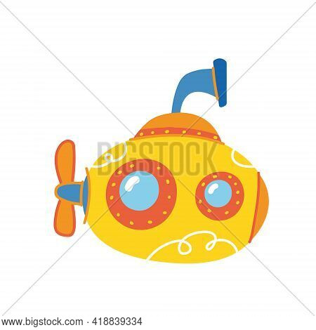 Nice Yellow Submarine. Ship Children S Print Is Bright. For The Decor Of Postcards, Clothes, Sticker