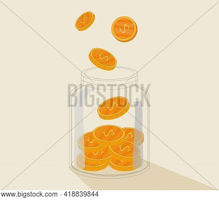 Money Jar. Saving Dollar Coin In Jar.save Your Money Concept. Vector Illustration In Flat Style