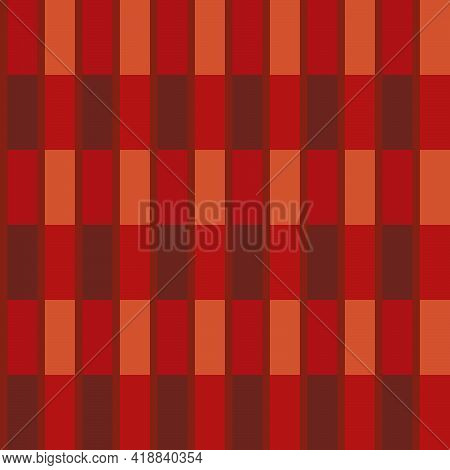 Seamless Pattern In Red Colors From Rectangles For Prints On Flannel Fabrics, Walls And For Interior