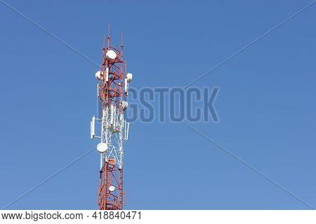 Telecommunication 5g Tower. Base Station Or Base Transceiver Station. Wireless Communication Antenna