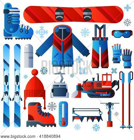 Flat Color Isolated Skiing Icons Set Of Complete Ski And Snowboard Outfit And Ski Resort Equipment O