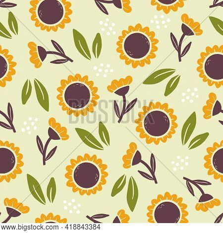 Hand Drawn Seamless Pattern Of Simple Sunflower. Doodle Sketch Style. Sunflower Pattern For Food Sho