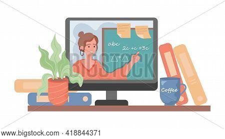 Online Education Vector Flat Cartoon Illustration. Young Pretty Woman On Laptop Screen Explains Math