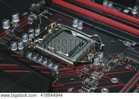 Desktop Pc Cpu Installed On Hi Tech Motherboard, Computer Components Chip