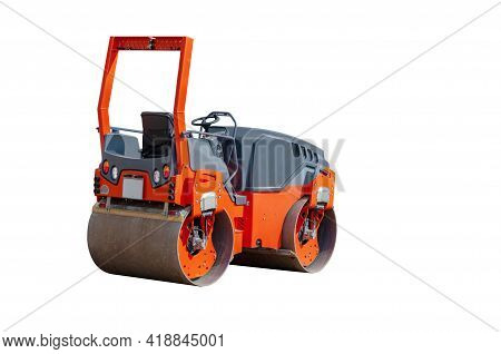 Asphalt Compactor. Orange Road Roller Isolated On White Background. Angle Back View Of The Modern Ro