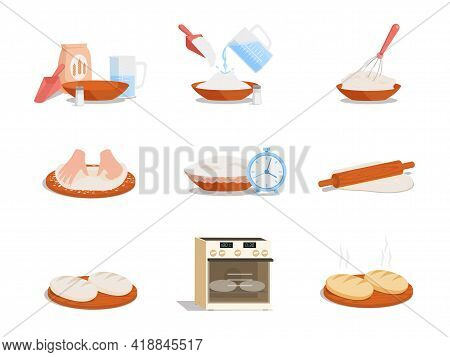 Preparation Of Tasty Bread Step By Step Vector Flat Illustration Isolated On White Background. Instr