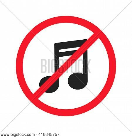 Music Is Prohibited Vector Flat Illustration Isolated On White Background. Musical Note Icon In Cros