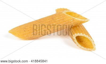 Raw Penne Pasta Pieces Isolated On White Background With Clipping Path